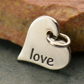 A686    -SV-CHRM Sterling Silver Word Charm - Love - Heart Shape DISCONTINUED