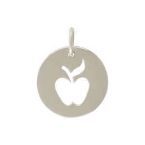 Sterling Silver Round Charm with Apple Cutout