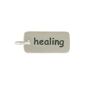 A857    -SV-CHRM Sterling Silver Word Charm - Healing