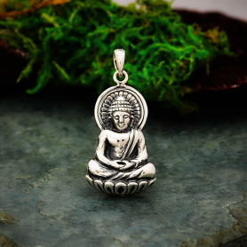 A869    -SV-CHRM Sterling Silver Buddha Pendant