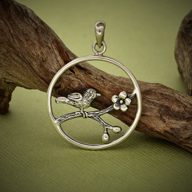 A899    -SV-CHRM Sterling Silver Bird Charm on Branch - Openwork