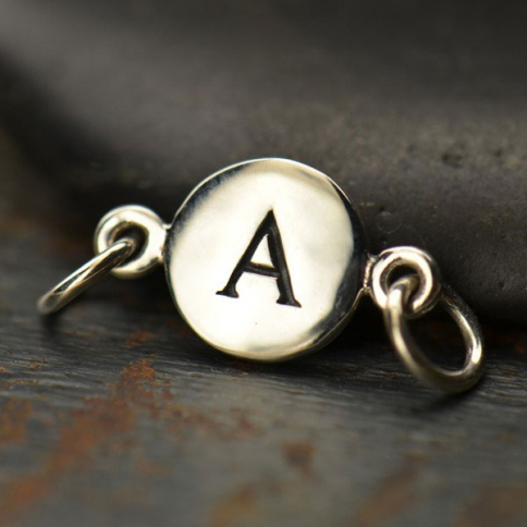 A8A     -SV-LINK Sterling Silver Initial Charm Links - Letter A DISCONTINUED