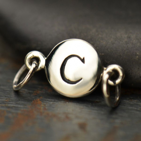A8C     -SV-LINK Sterling Silver Initial Charm Links - Letter C DISCONTINUED