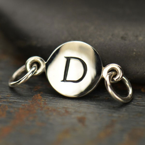 A8D     -SV-LINK Sterling Silver Initial Charm Links - Letter D DISCONTINUED