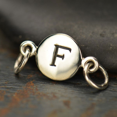 A8F     -SV-LINK Sterling Silver Initial Charm Links - Letter F DISCONTINUED