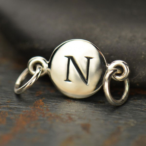 A8N     -SV-LINK Sterling Silver Initial Charm Links - Letter N DISCONTINUED