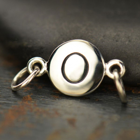 A8O     -SV-LINK Sterling Silver Initial Charm Links - Letter O DISCONTINUED