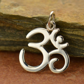 A910    -SV-CHRM Sterling Silver Om Charm - Large