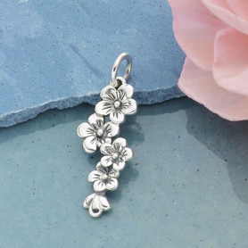 A929    -SV-CHRM Sterling Silver Cherry Blossoms Charm