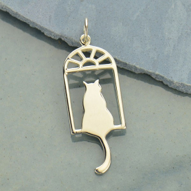 A936    -SV-CHRM Sterling Silver Cat in the Window Charm - Pet Charm