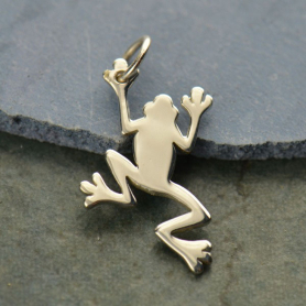 A957    -SV-CHRM Sterling Silver Frog Charm - Flat