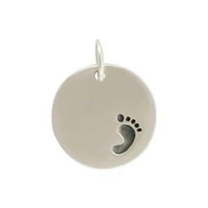 Sterling Silver Round Charm with Etched Footprint