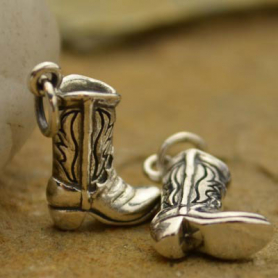 A994    -SV-CHRM Sterling Silver Cowboy Boot Charm
