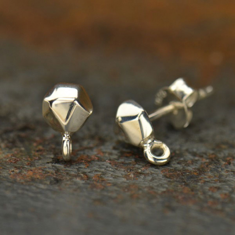 AT1386  -SV-EARR Silver Stud Earring Jewelry Finding - Nugget with Loop