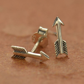 AT1548  -SV-EARR Sterling Silver Arrow Stud Earrings -10mm