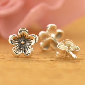 AT1676  -SV-EARR Sterling Silver Stud Earrings - Cherry Blossom
