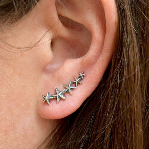 AT6005  -SV-EARR Sterling Silver Star Ear Climbers