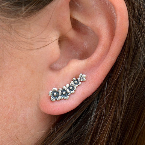 AT6006  -SV-EARR Sterling Silver Cherry Blossom Ear Climbers