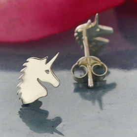 AT6073  -SV-EARR Sterling Silver Unicorn Post Earrings - Unicorn Jewelry