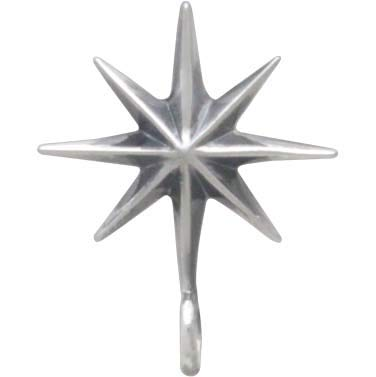 Sterling Silver Ridged Star Burst Earrings with Bottom Loop