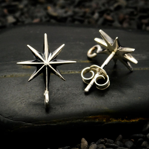 AT6124  -SV-EARR Sterling Silver Ridged Star Burst Earrings with Bottom Loop