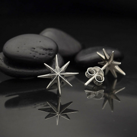 AT6128  -SV-EARR Sterling Silver Ridged Star Burst Post Earrings
