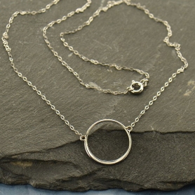 CH43    -SV-NECK Sterling Silver 18 Inch Chain - With Circle Pendant
