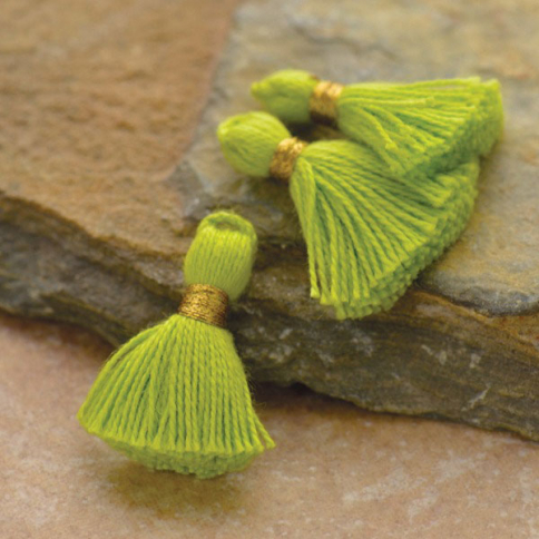 D902    -FB-TASL Cotton Mini Tassel - Lime Green Jewelry Tassel