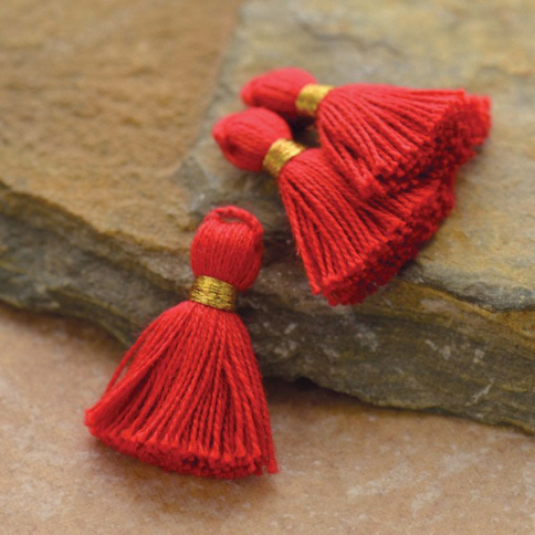 D907    -FB-TASL Cotton Mini Tassel - Fire Truck Red Jewelry Tassel