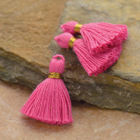 D909    -FB-TASL Cotton Mini Tassel - Bubble Gum Pink Jewelry Tassel