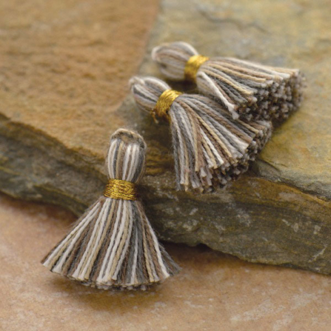 D910    -FB-TASL Cotton Mini Tassel - Heather Gray Jewelry Tassel