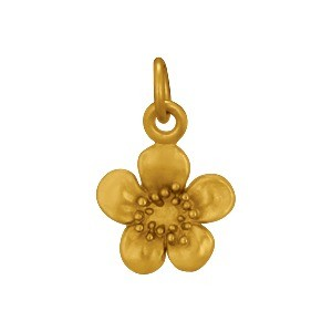 Gold Charm - Plum Blossom with 24K Gold Plate
