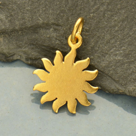 GA1210  -SV-GP1-CHRM Gold Charms - Sun with 24K Gold Plate
