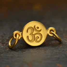 GA1267  -SV-GP1-LINK Gold Charm Links - Om with 24K Gold Plate DISCONTINUED