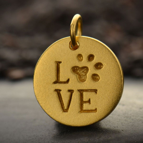 GA1278  -SV-GP1-CHRM Round LOVE charm with Pawprint in 24K Gold PlateDISCONTINUED