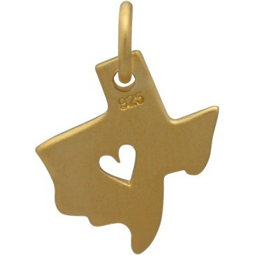 Gold Charm - Texas with Heart in 24K Gold Plate