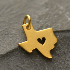 GA1304  -SV-GP1-CHRM Gold Charm - Texas with Heart in 24K Gold Plate