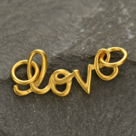 GA1305  -SV-GP1-FEST Cursive Love Pendant Link in 24K Gold Plate DISCONTINUED