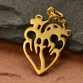 GA1425  -SV-GP1-CHRM Flat Anatomical Heart Charm with 24K Gold Plate DISCONTINUED
