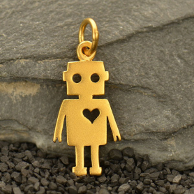 GA1580  -SV-GP1-CHRM Gold Charm - Robot with 24K Gold Plate DISCONTINUED