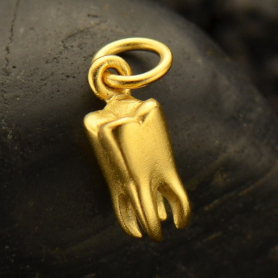 GA1664  -SV-GP1-CHRM Gold Charms - 3D Tooth Charm in 24K Gold Plate