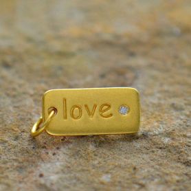 GA451   -SV-GP1-CHRM Gold Charm - Love w Diamond in 24K Gold Plate DISCONTINUED