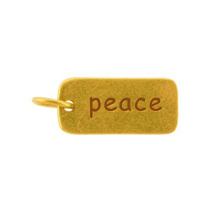GA466   -SV-GP1-CHRM Gold Word Charms - Peace with 24K Gold Plate DISCONTINUED