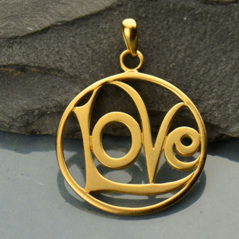 GA498   -SV-GP1-CHRM Gold Charm - Openwork Love Circle w Gold Plate DISCONTINUED