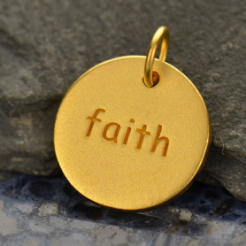 GA662   -SV-GP1-CHRM Gold Word Charms - Round Faith w 24K Gold PlateDISCONTINUED