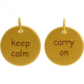 GA671   -SV-GP1-CHRM Charm - Keep Calm Carry On w Gold Plate DISCONTINUED