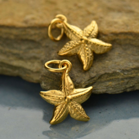 GA675   -SV-GP1-CHRM Gold Charms - Small Textured Starfish with 24K Gold Plate