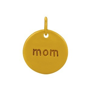 Gold Word Charms -Round Mom with 24K Gold Plate DISCONTINUED