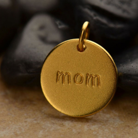 GA737   -SV-GP1-CHRM Gold Word Charms -Round Mom with 24K Gold Plate DISCONTINUED
