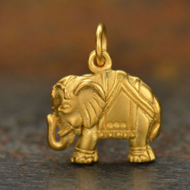 GA807   -SV-GP1-CHRM Gold Charms - Elephant with 24K Gold Plate